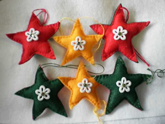 Christmas Star Ornaments/Felt Star Ornaments/Christmas Tree Decoration/Holiday Ornaments/Star Ornaments