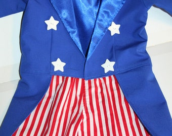 Uncle Sam Tuxedo Jacket with Tails AND SHORTS - Fully Lined in Satin - Birthday, Photo Prop, Circus, Ringmaster, Band Leader, Uncle Sam