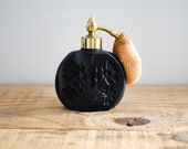Vintage Perfume Atomizer with Black Floral Design Glass Retro Vanity