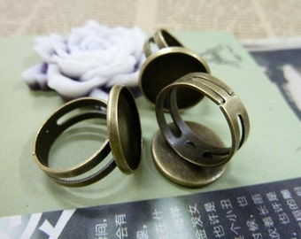 5pcs  Antique Bronze Brass ring setting/fingding with16 mm cab setting TA