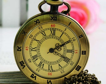 Vintage jewelry Double text Roman numerals pocket watch necklace Sweater Necklace Fashion statement  Christmas Gifts for Boys and girls