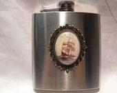 Flask,  Nautical Vintage Sailing Ship Image  6 ounce  Handmade