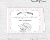 Little Peanut (Girl) - Thank you Cards - Elephant, circus, little peanut Birthday, Shower