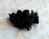 RESERVED Listing for shelze911: Black Loopy Party Bow on a  French Barrette