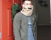 Reversible Moustache Scarf-- Reverses to Camoflauge Fleece