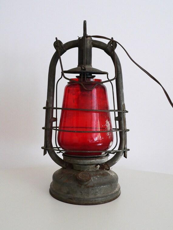 """V I N T A G E Red Glass Kerosene """"RHEWUM"""" Lamp SL2, Converted To Electric Lamp"""