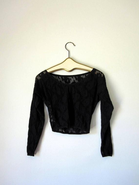 Vintage Black  Lace Crop Top