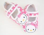 READY TO SHIP--Hello Kitty inspired  polka dot crib shoes--0-6 mos & 6-12 mos