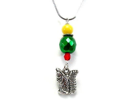 Alpha Gamma Delta - Alpha Gam Squirrel Necklace - Alpha Gamma Delta Sorority Jewelry - Greek Accessory - Red - Green - Yellow - Handcrafted