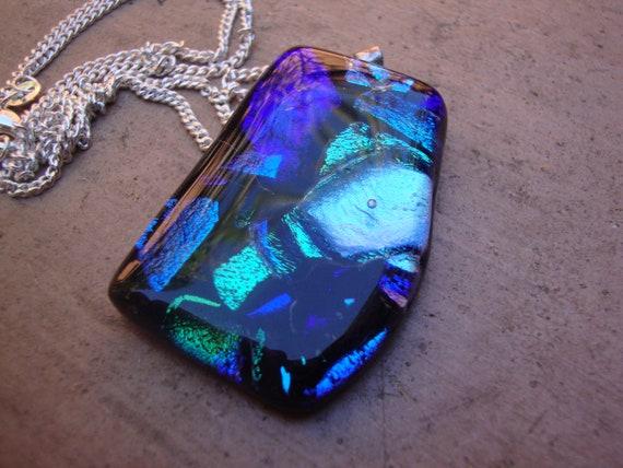 Dichroic glass on silver chain