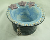 FREE SHIPPING - Ceramic Earring Holder - Ceramic Jewelry Bowl - Earring Bowl - Pottery Bowl - Trinket Dish - Stars - Purple Blue Black