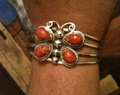 925 Coral Butterfly Cuff Bracelet from Taxco