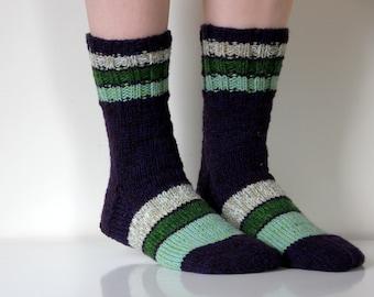 Beautiful Hand knit wool socks, size - medium, large US W 8-8.5, EU 38.5 - 39