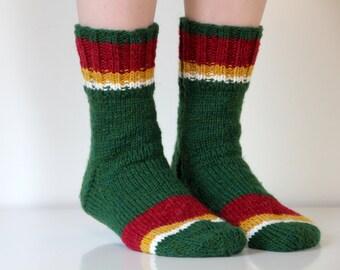 Hand knit wool socks. Size - medium, large US W 8.5-9, EU 39-40