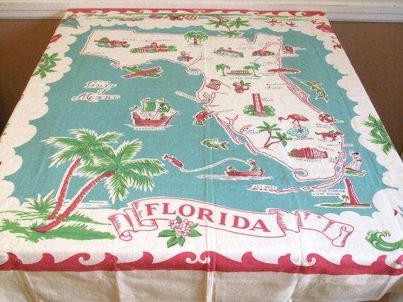 Vintage Tablecloth - Red Turquoise Decor - Florida Map