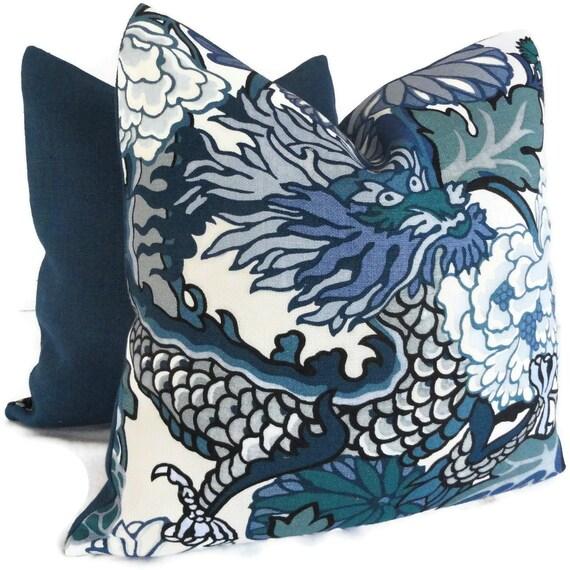 Schumacher China Blue Chiang Mai Dragon Decorative Pillow