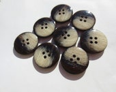 """Vintage Buttons Brown Cafe Au Lait Set 7/8"""" And 5/8"""" (57) Italian Made 2 Sizes Lot"""