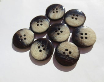 "Vintage Buttons Brown Cafe Au Lait Set 7/8"" And 5/8"" (57) Italian Made 2 Sizes Lot"