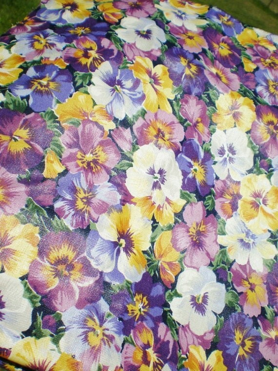 Pansy Fabric Floral Purple Yellow Cotton Fat Quarter London Collection Rose & Hubble