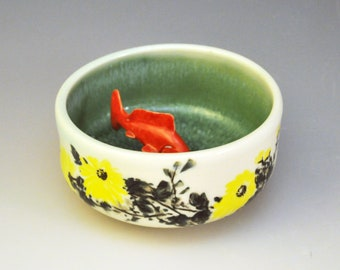 "Koi Tea Bowl ""Summer Lotus Pond"""