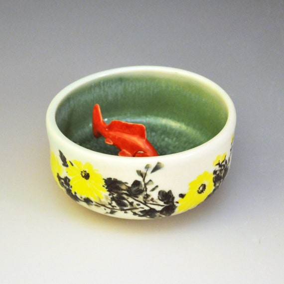 Koi tea bowl summer lotus pond by mochiliu on etsy for Koi viewing bowl
