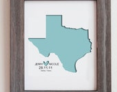"Personalized Paper Cut Out of  Texas Map 8""x10"" for Gift and Wedding Gift"