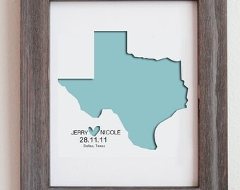 """Personalized Paper Cut Out of  Texas Map 8""""x10"""" for Gift and Wedding Gift"""