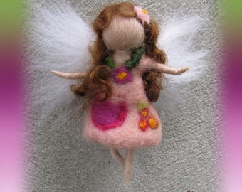 Ava - Needle Felted Wool  fairy girl , Flower fairy, Waldorf inspired fairy doll, wool