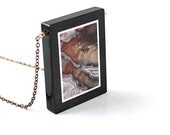 Like a painting necklace: natural stone necklace, stone jewelry modern agate brown black intarsia