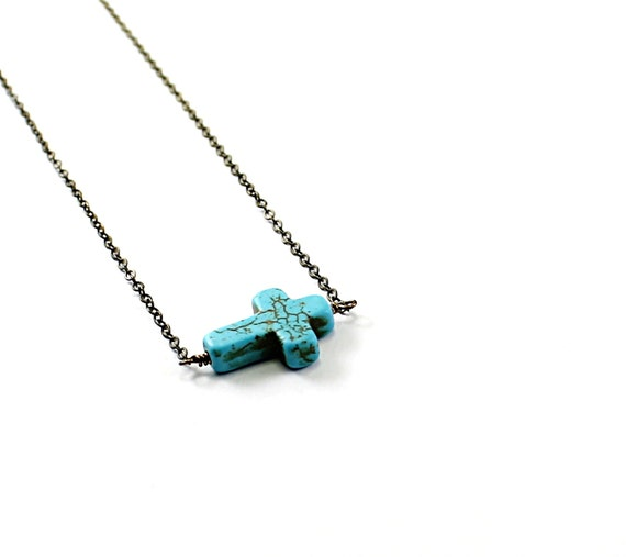 Cross necklace: turquoise necklace Christian necklace religious jewelry, stone cross necklace, sideways cross