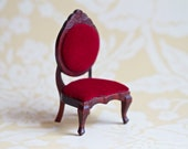 Miniature Dolls House Victorian Red Velvet Chair - Meanglean