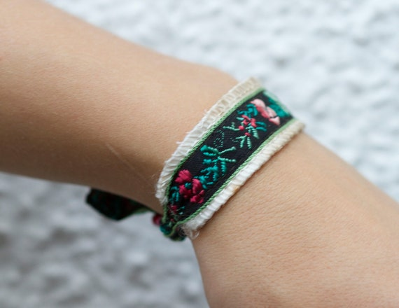 Embroidered Flowers - OOAK Cuff Bracelet - Repurposed Jewelry