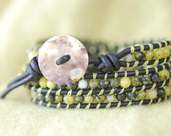 Yellow Turquoise Leather Wrap - Yellow Turquoise Wrap Bracelet - Yellow Bracelet - Yellow Wrap (B204)