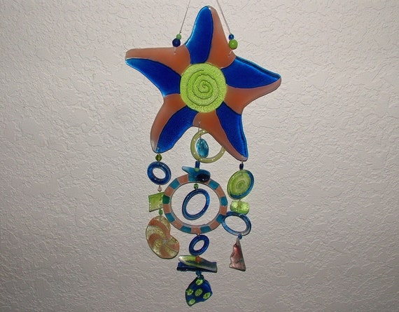 Starfish Recycled Glass Wind Chime