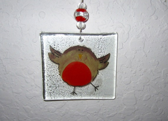 Whimsical Bird Ornament - Recycled Glass with Decal