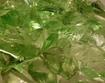 Fern Green Transparent Glass Chips Recycled 1/2 pound (C113)