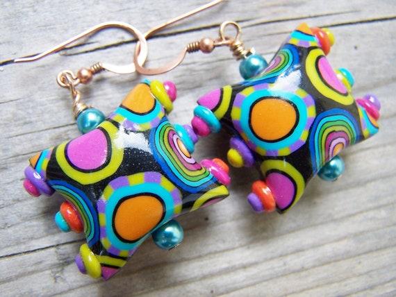 Artisan Polymer Clay Colorful Beaded Earrings