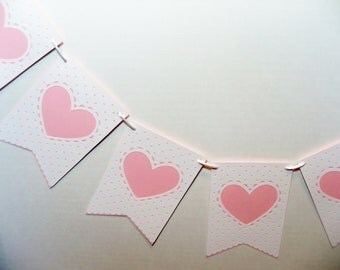 Wedding Valentine Banner Garland Bunting Dotted Swiss Look Valentines Day Anniversary Photo Prop