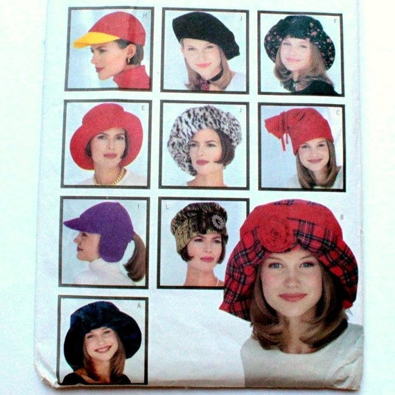 Hat Sewing Pattern, 9 Styles, Misses Fashion Hats, All Sizes Included, Cloche, Baseball Hat, Brim, Chapeaux,  Butterick 3055, 1993,