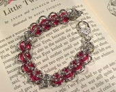 Silver & Red Glass Donut Chainmaille Bracelet
