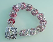Breast Cancer Awareness Chainmaille Gradient Pink Barrel Weave Bracelet