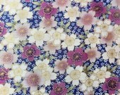 Japanese Cherry Blossom fabric with pink and ivory flowers by Kona Bay - Geisha Dynasty Collection (1 yard)