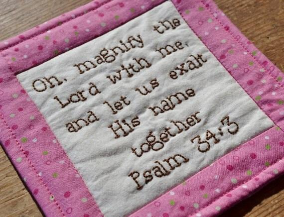 Religious Coaster - Mug Rug - Bible Verse - Scripture - Psalm 34 - Hand Stitched - Home Decor
