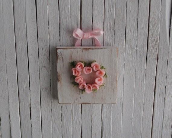 Miniature Shabby Chic Rose Heart Wall Hanging