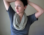 Tan Infinity Scarf - Knit Loop Scarf - Medium Weight Handmade Stone Color Circle Scarf, Cowl