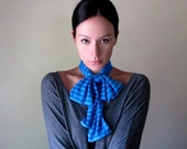 Blue Striped Head Scarf - All In One Headband, Turban, Hair Wrap - Womens Bow Tie, Neck Bow - Ascot - Skinny Scarf