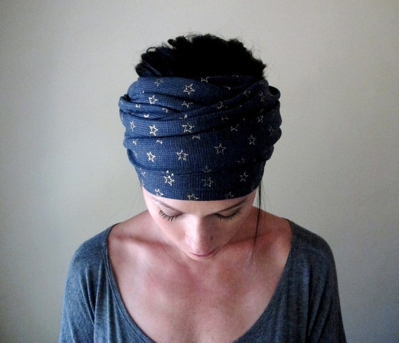 Stars Head Scarf - Gold Stars on Denim Blue Thermal - Hair Wrap, Headband - All in One Accessory - Thermal Knit with Metallic Stars