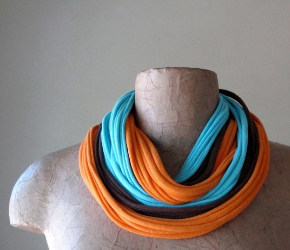 Infinity Scarf Necklace - Eco Friendly Scarf - Robin Egg Blue, Orange, Brown - Jersey Cotton Fabric Necklace