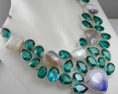 Stunning Gemstone Lace Agate, Faceted Chrome Diopside Necklace