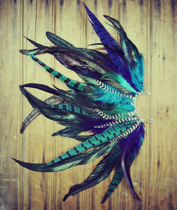 Handmade Large Feather Ear Cuff, Peacock Feathers, Grizzly Feathers, Blue, Hippie, Bohemian, Tribal, Aztec, Hair Feathers